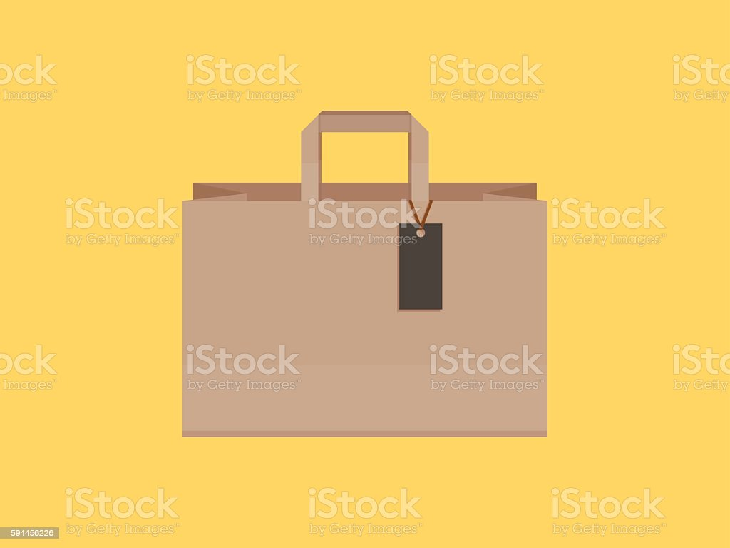Shopping bag with tags, flat design vector art illustration