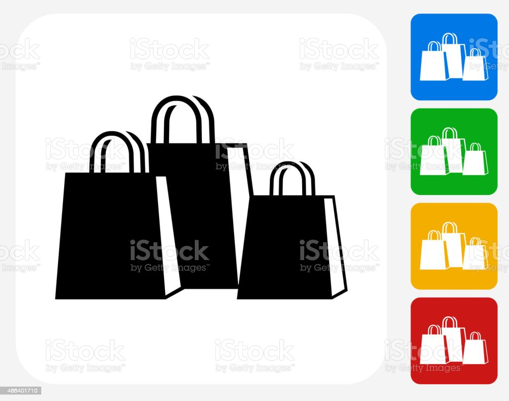 Shopping Bags Icon Flat Graphic Design vector art illustration