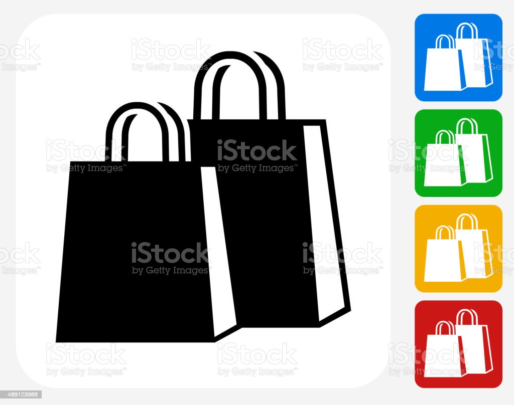 Shopping Bags Icon Flat Graphic Design stock vector art 489123986 ...