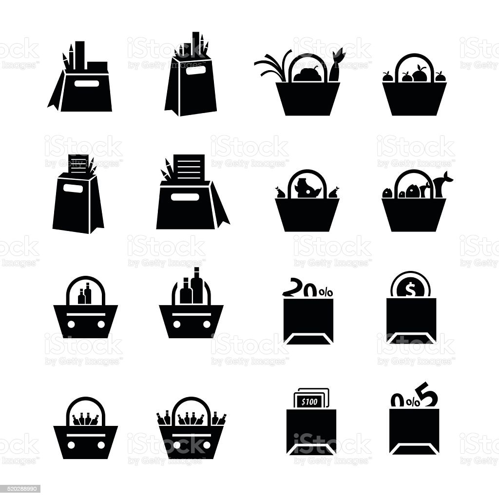 Shopping Bags Set with drink, foods and status   icons vector art illustration