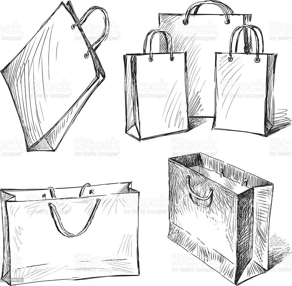 shopping bags vector art illustration
