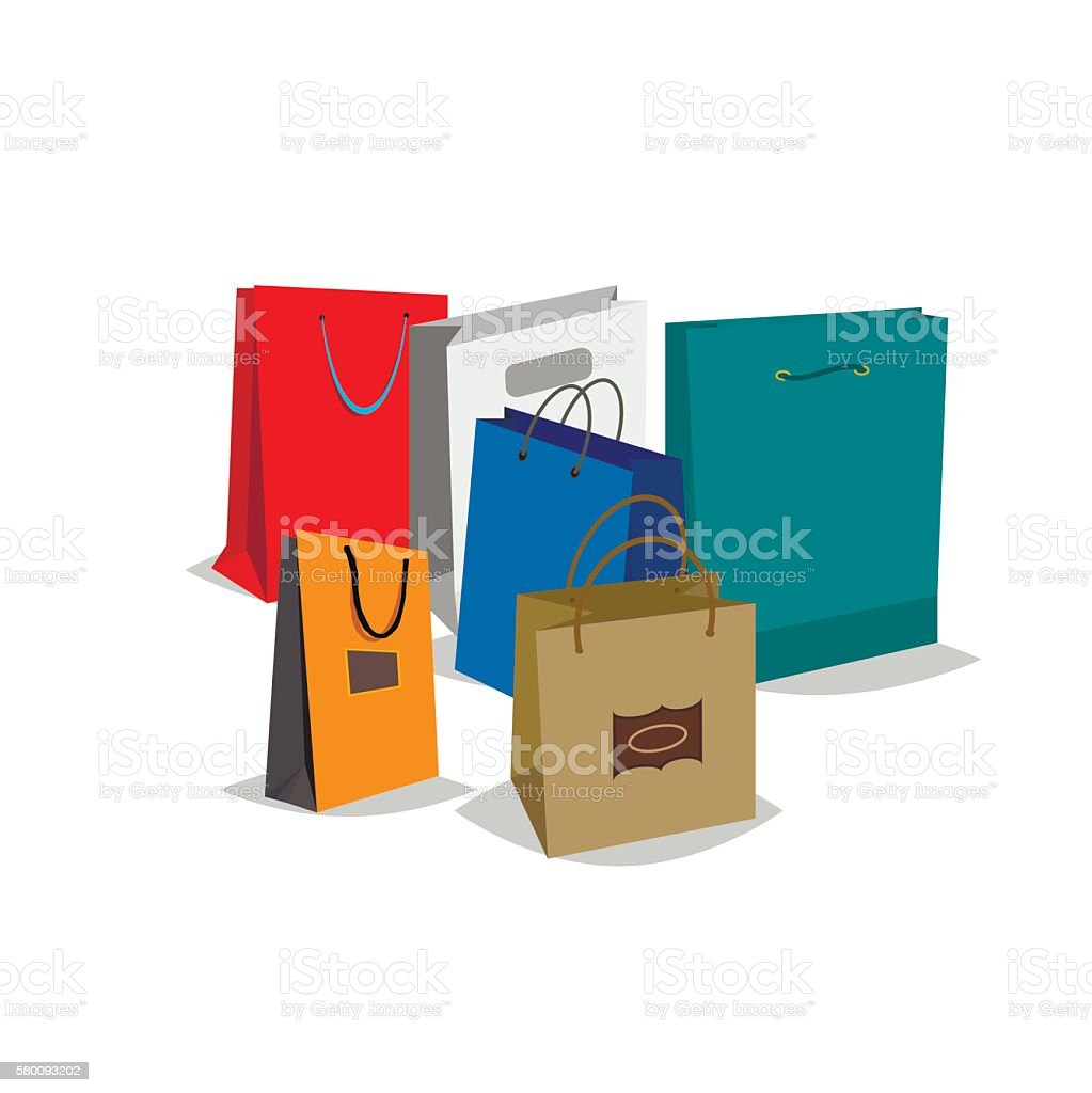 shopping bags vector illustration stock vector art 580093202 istock