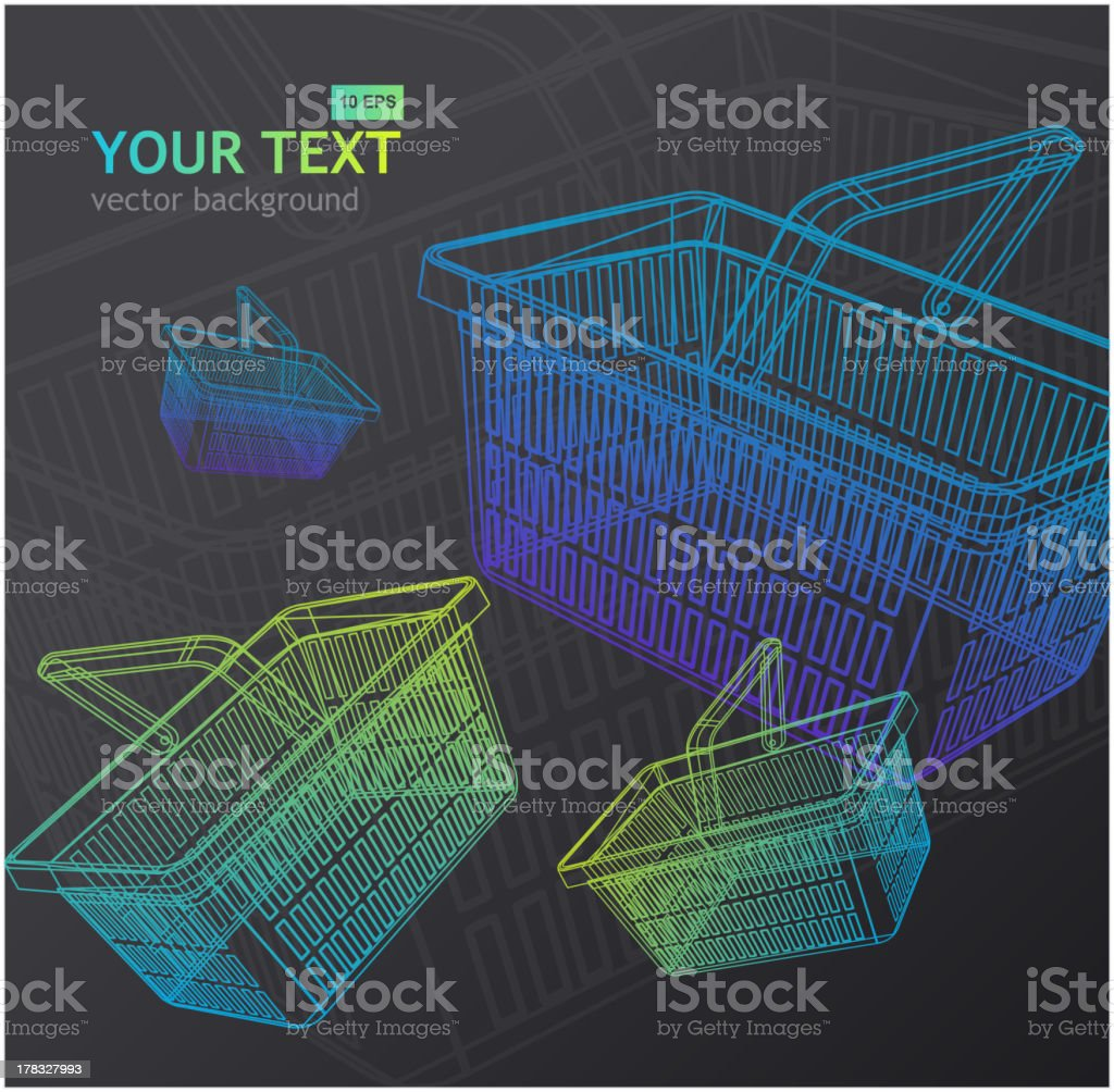 Shopping basket background royalty-free stock vector art