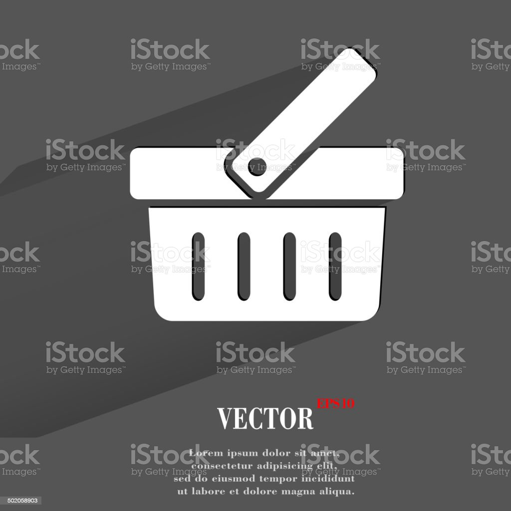 Shopping basket. Flat modern web button with long shadow and vector art illustration