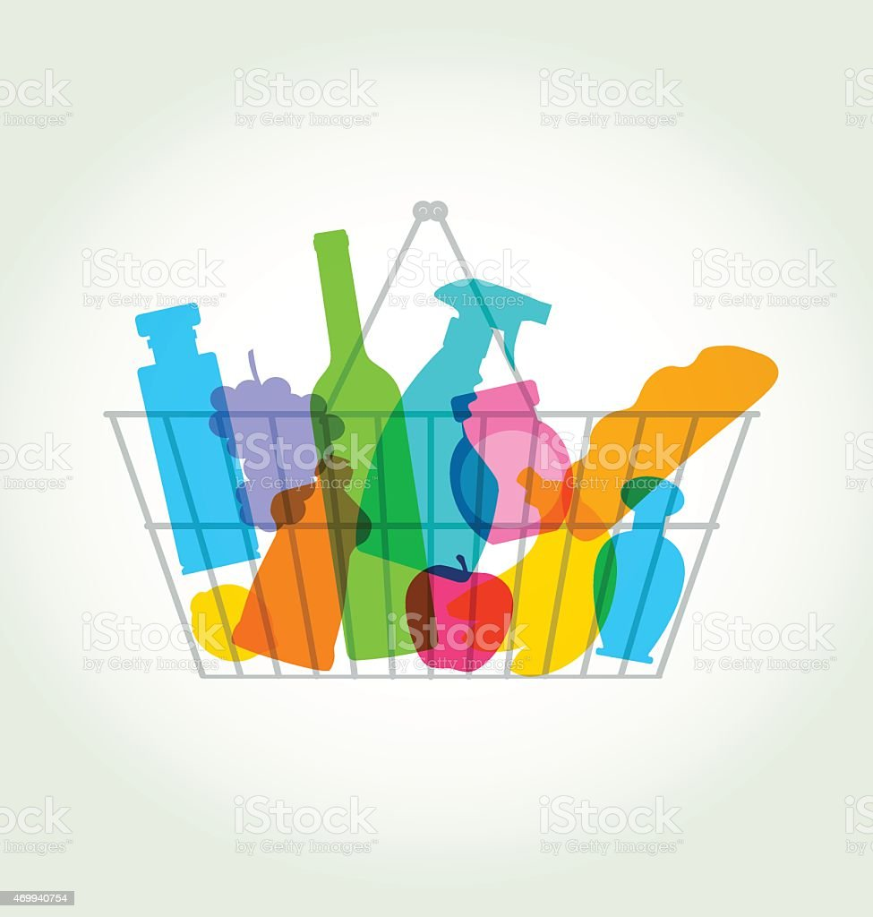 A shopping basket with colorful grocery silhouettes vector art illustration