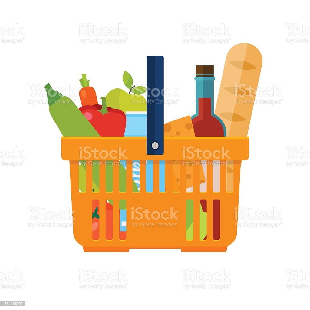Shopping basket with foods. Healthy organic fresh and natural fo vector art illustration