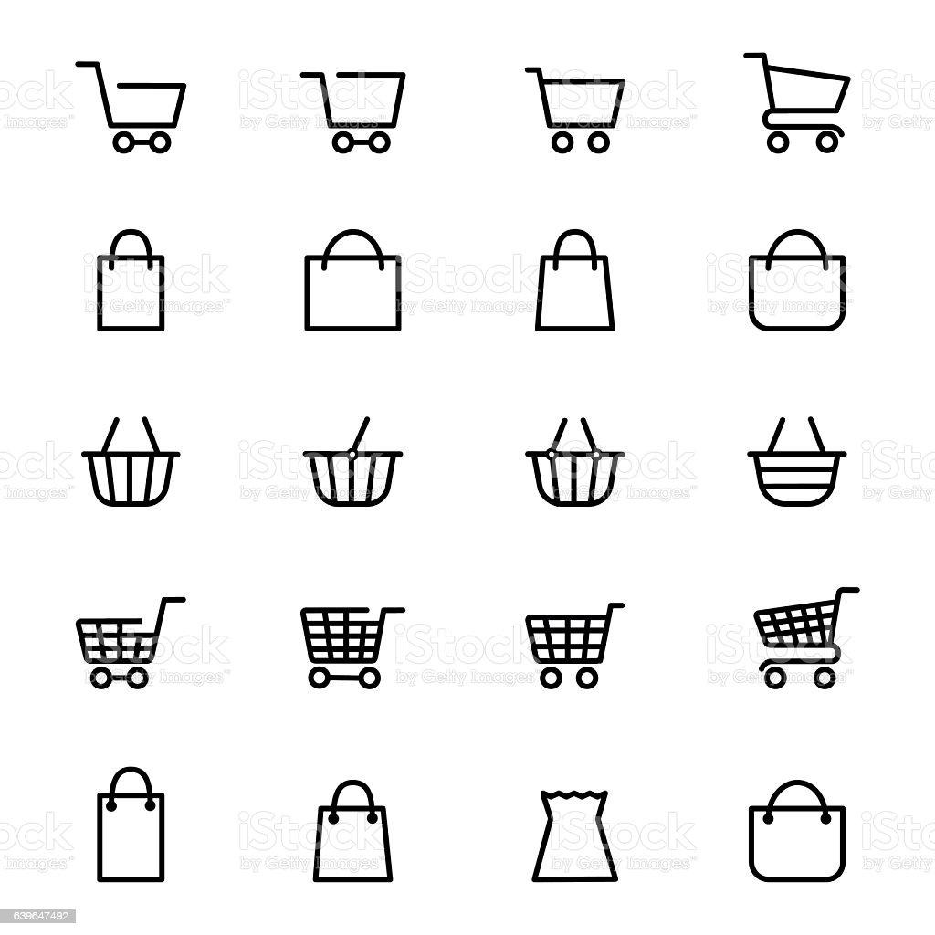 Shopping baskets line icons vector art illustration