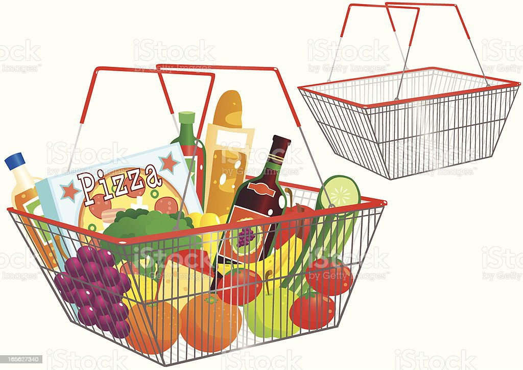 Shopping baskets - one empty, one full vector art illustration