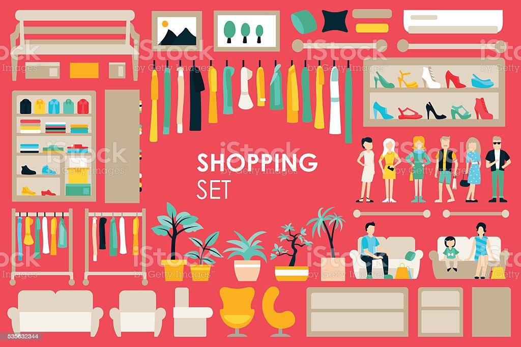 Shopping Big Collection in flat design background concept. Infographic Elements vector art illustration