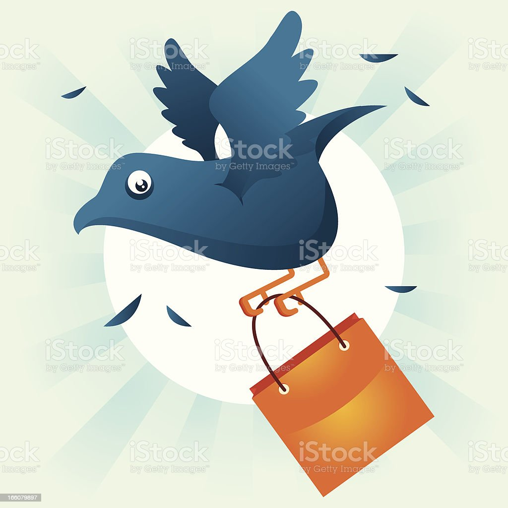 Shopping bird vector art illustration
