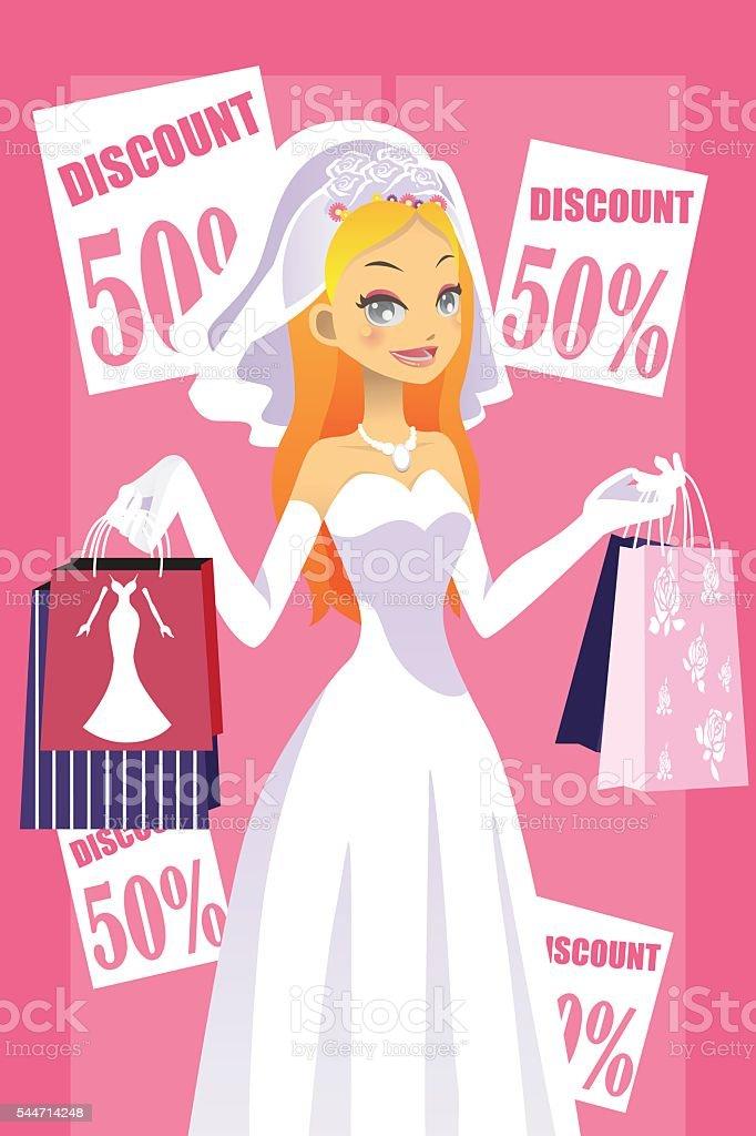 Shopping bride vector art illustration