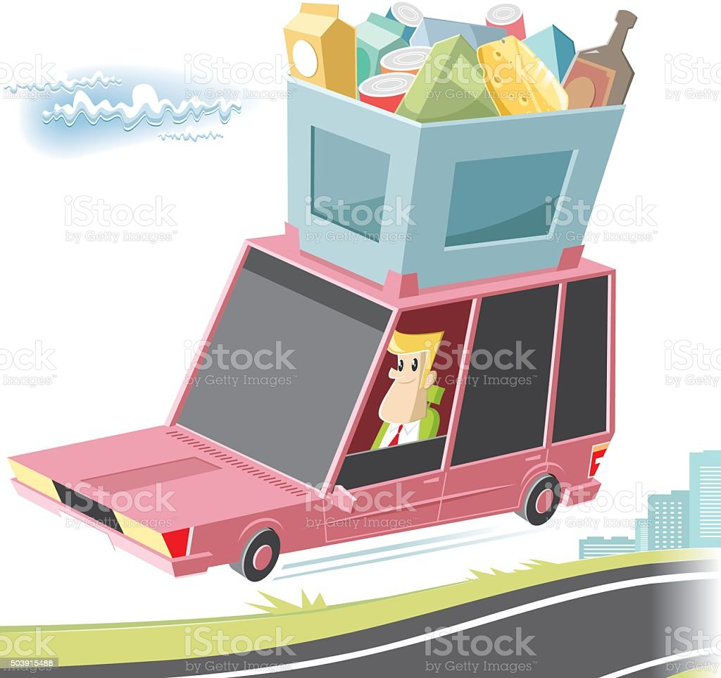 shopping car vector art illustration