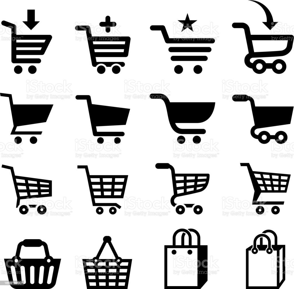 Shopping cart icon black and white set vector art illustration