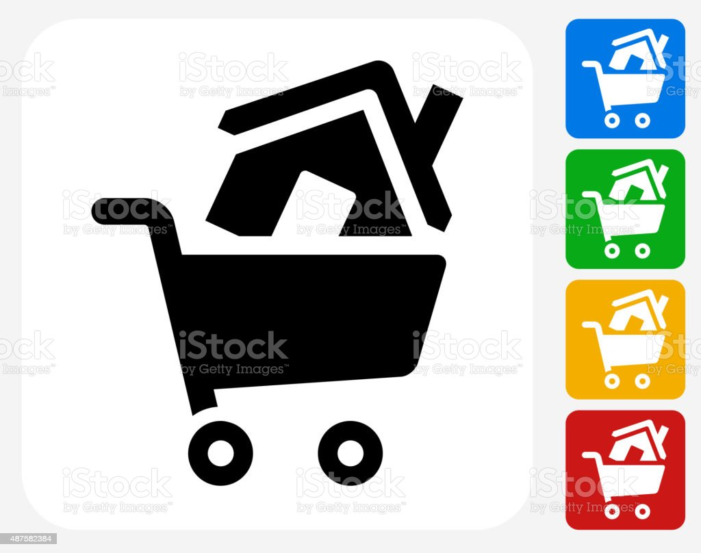 Shopping Cart and House Icon Flat Graphic Design vector art illustration