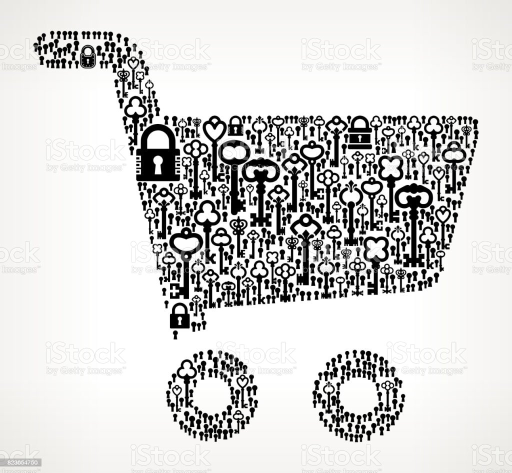 Shopping Cart  Antique Keys Black and White Vector Pattern vector art illustration