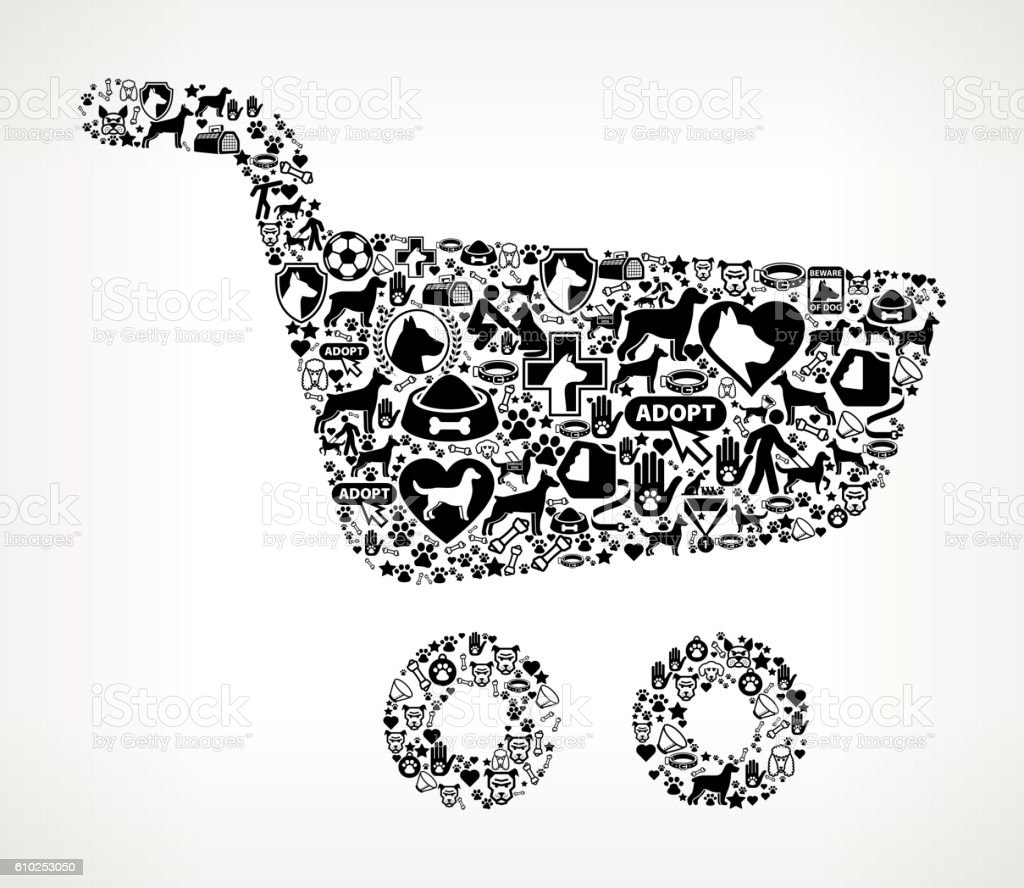 Shopping Cart Dog and Canine Pet Black Icon Pattern vector art illustration