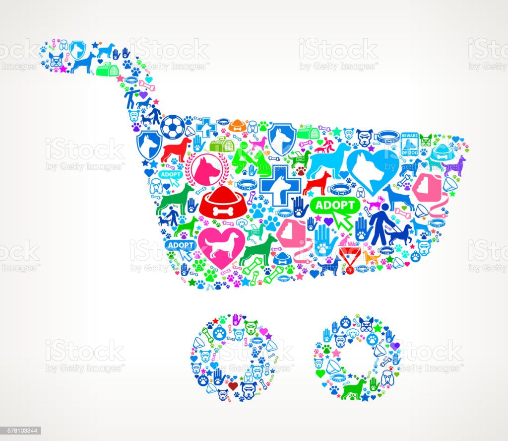 Shopping Cart Dog and Canine Pet Colorful Icon Pattern vector art illustration