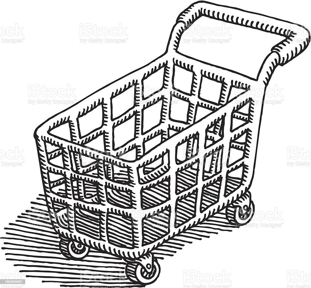 Shopping Cart Drawing vector art illustration