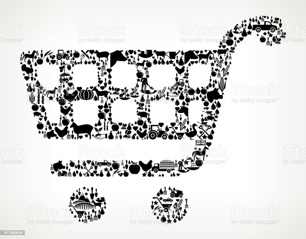 Shopping Cart Farming and Agriculture Black Icon Pattern vector art illustration
