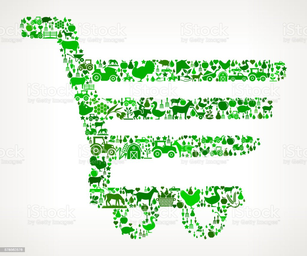 Shopping Cart Farming and Agriculture Green Icon Pattern vector art illustration
