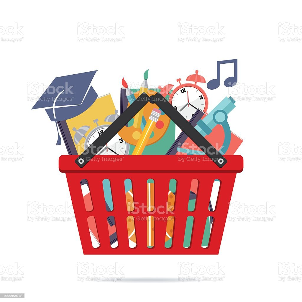 Shopping Cart Filled With Back To School Supplies vector art illustration