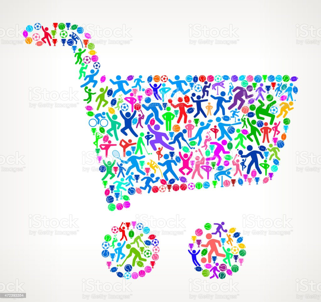 Shopping Cart Fitness Sports and Exercise pattern vector backgro vector art illustration