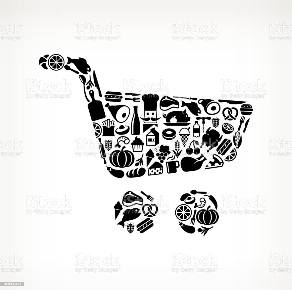 Shopping Cart on royalty free vector icons Food and Drink. The vector...