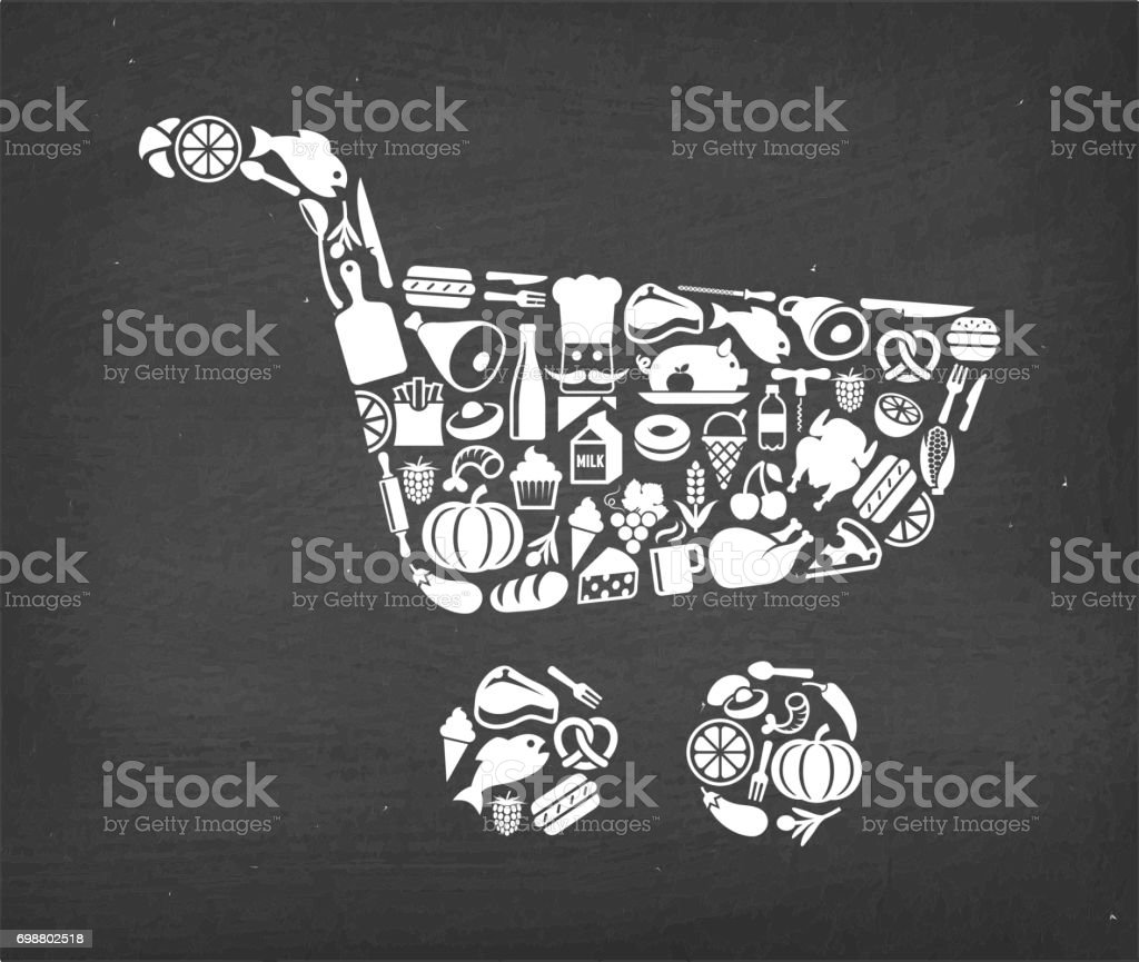 Shopping Cart Food & Drink royalty free vector icon pattern. This...