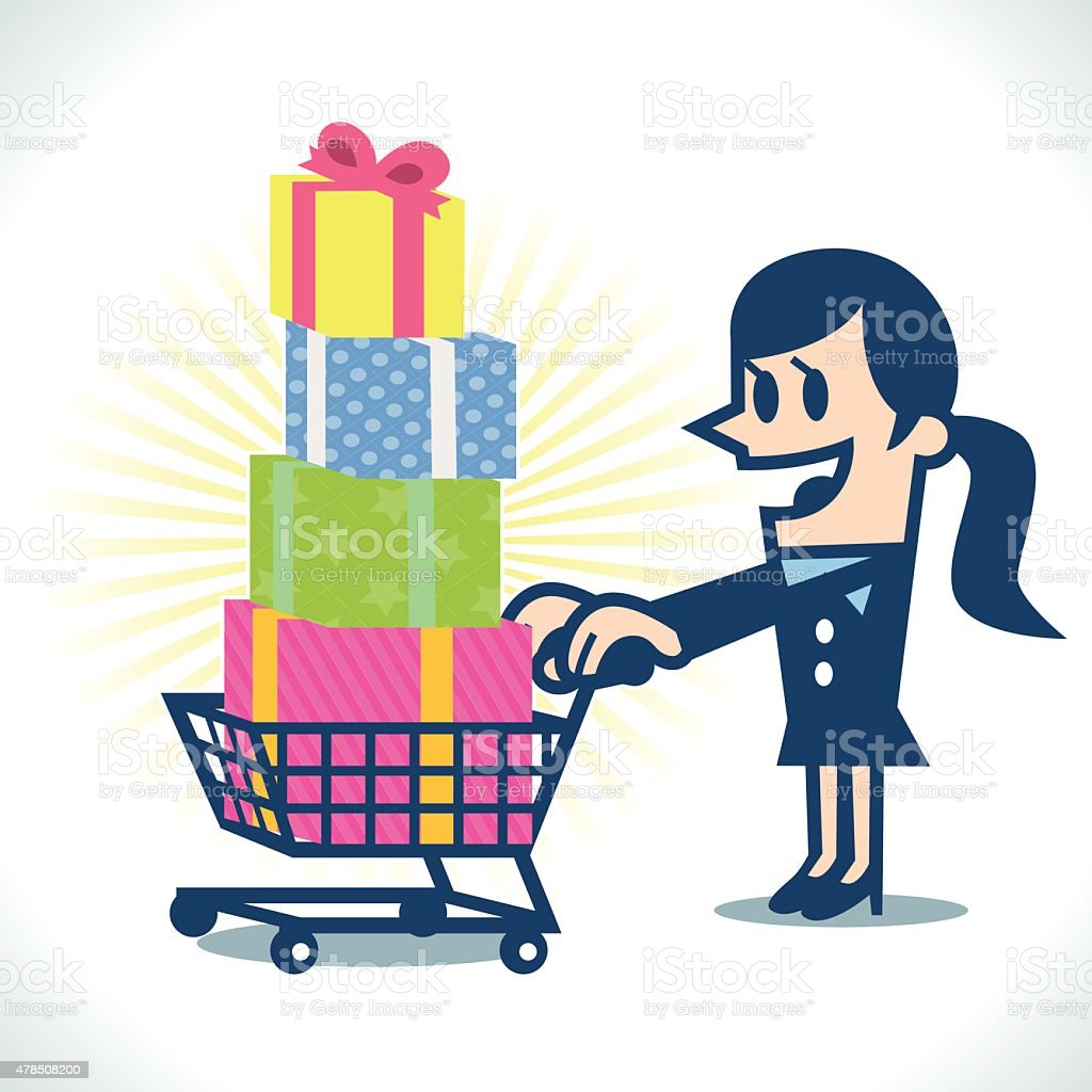 Shopping cart full of gift box vector art illustration