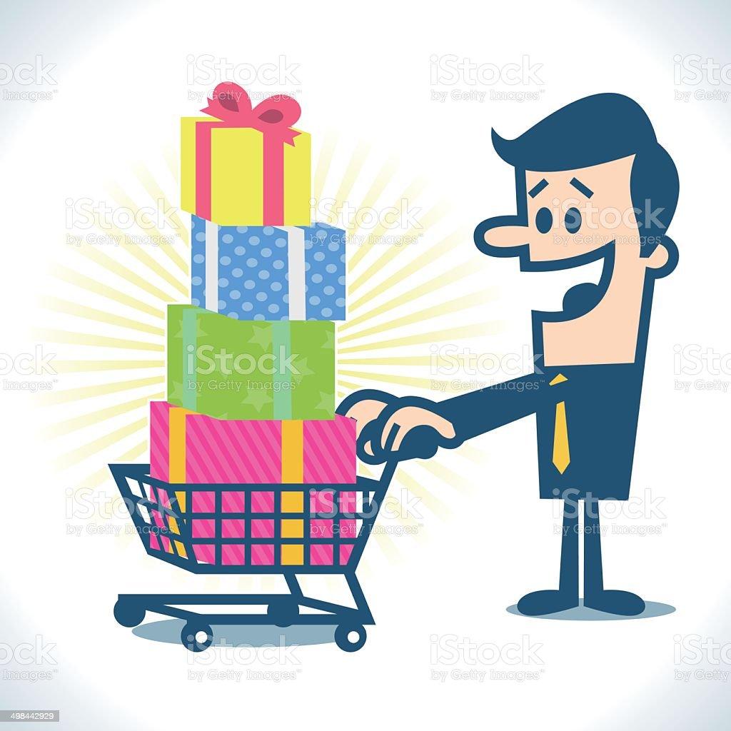 Shopping cart full of gift box royalty-free stock vector art