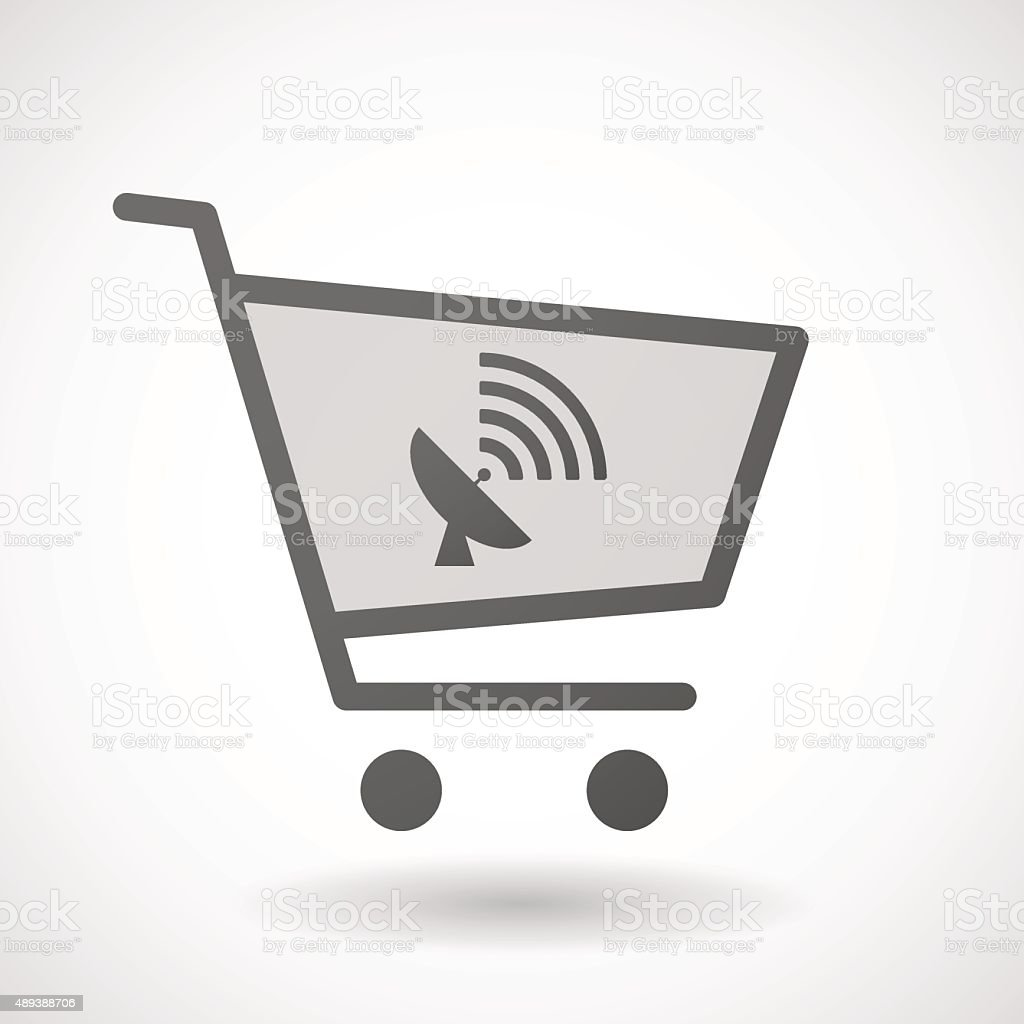 Shopping cart icon with a satellite dish vector art illustration