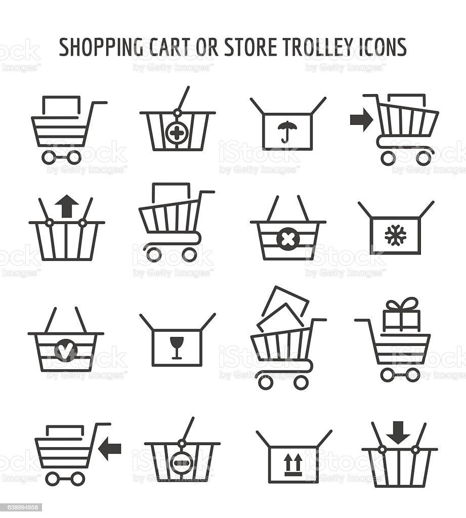Shopping cart icons for web e-commerce vector art illustration