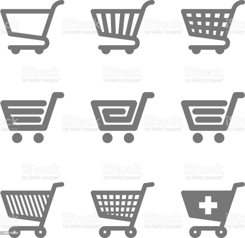 Shopping cart icons vector art illustration