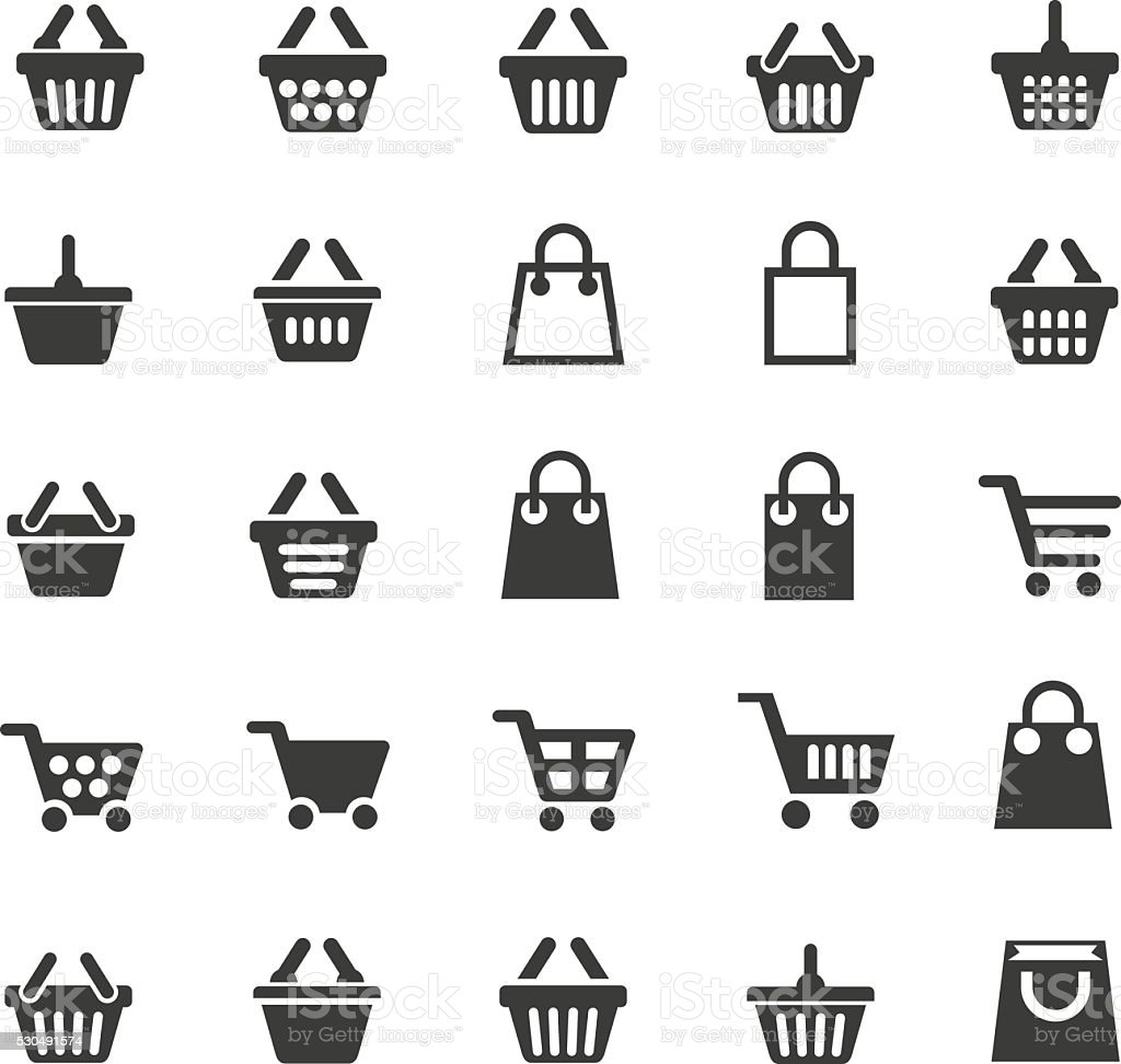 Shopping cart icons vector art illustration
