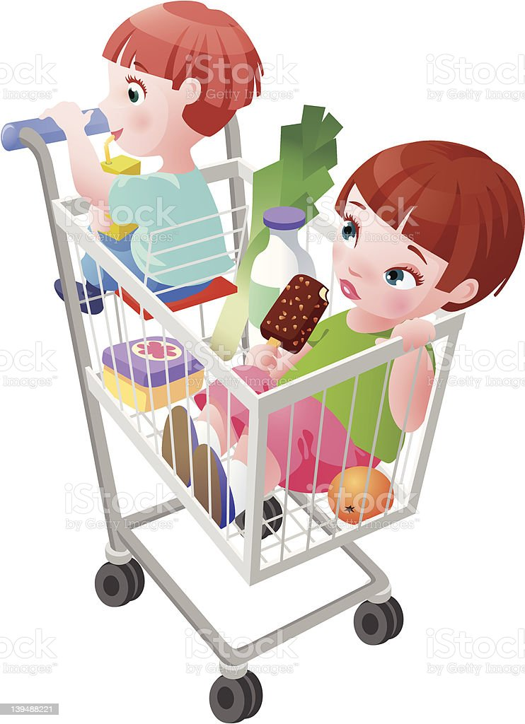 Shopping cart with children royalty-free stock vector art
