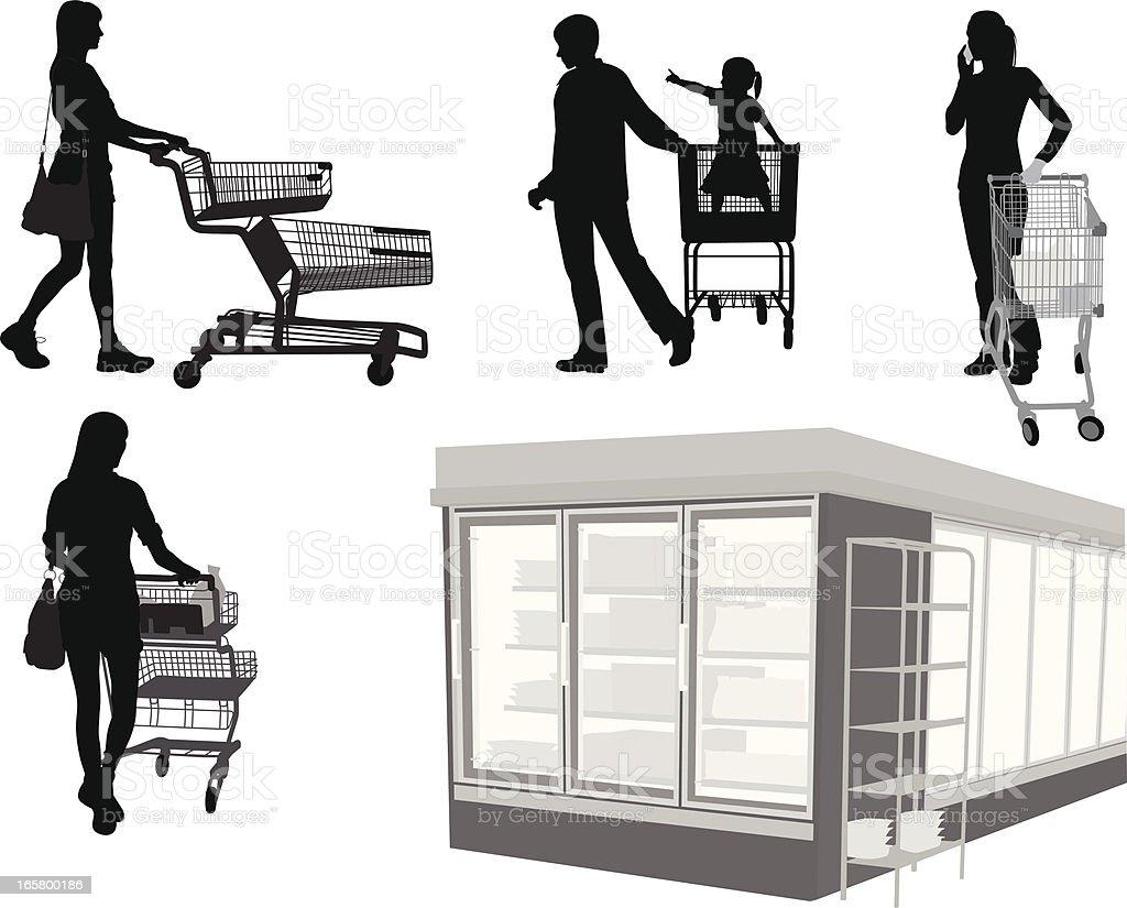 Shopping Carts Vector Silhouette royalty-free stock vector art