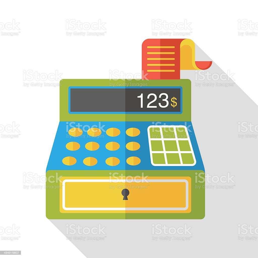 shopping cash register flat icon vector art illustration