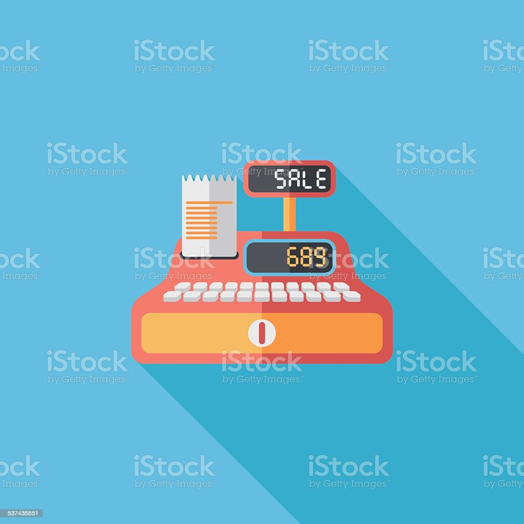 shopping cash register flat icon with long shadow,eps10 vector art illustration