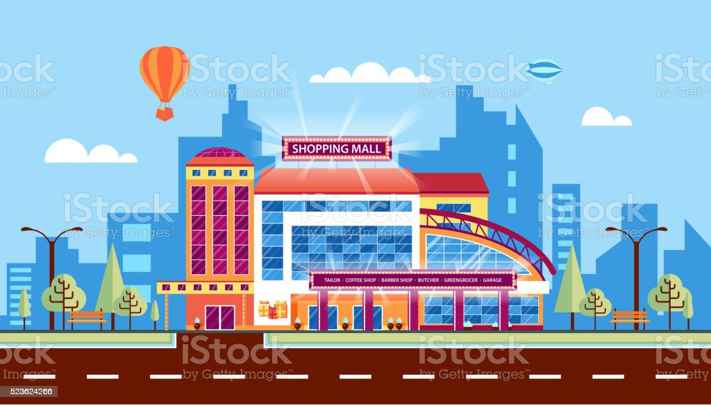 Shopping center 1 vector art illustration