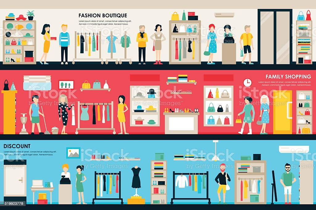 Shopping Center and Boutique Rooms flat shop interior concept web vector art illustration