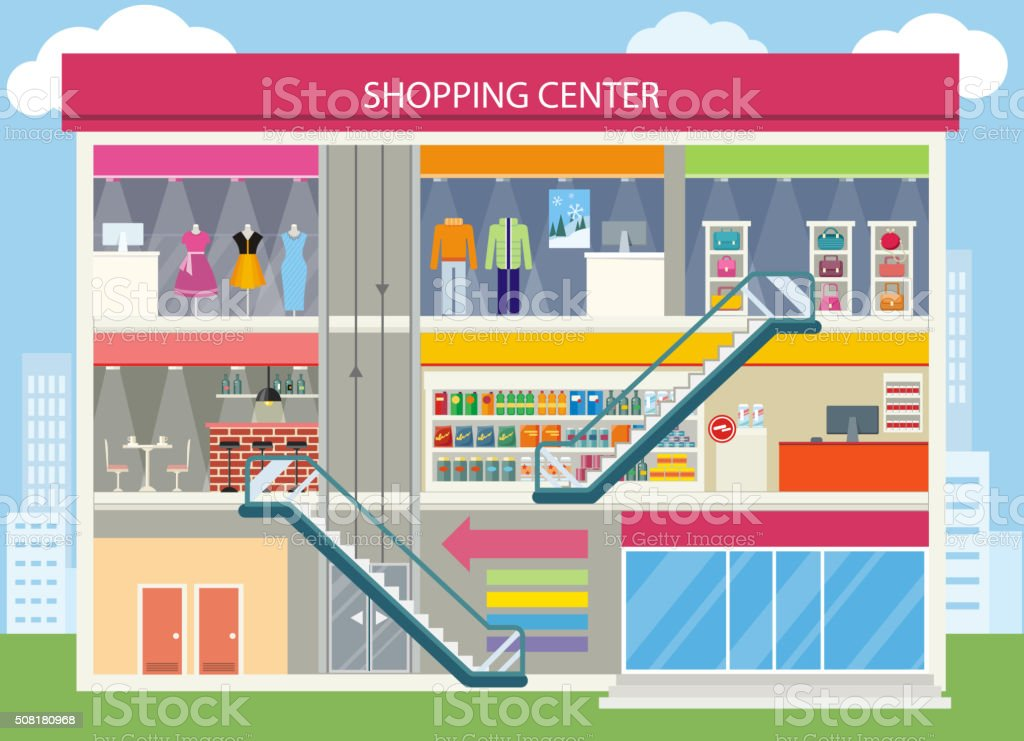 Shopping Center Buiding Design vector art illustration
