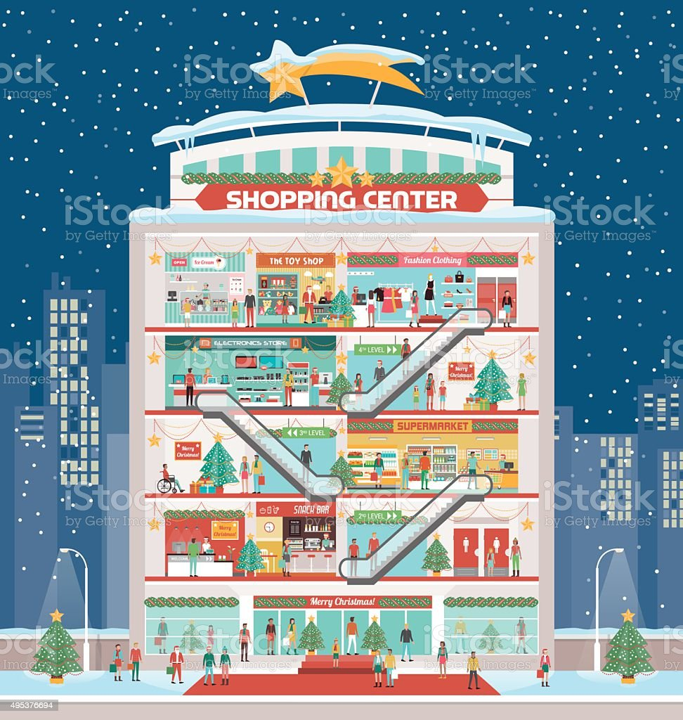 Shopping center with Christmas decorations vector art illustration
