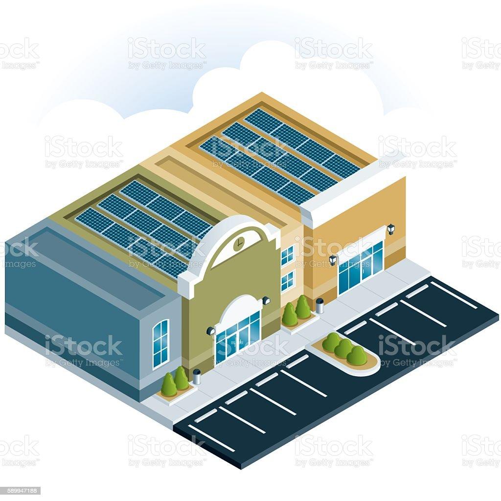 Shopping Center With Solar Panels vector art illustration