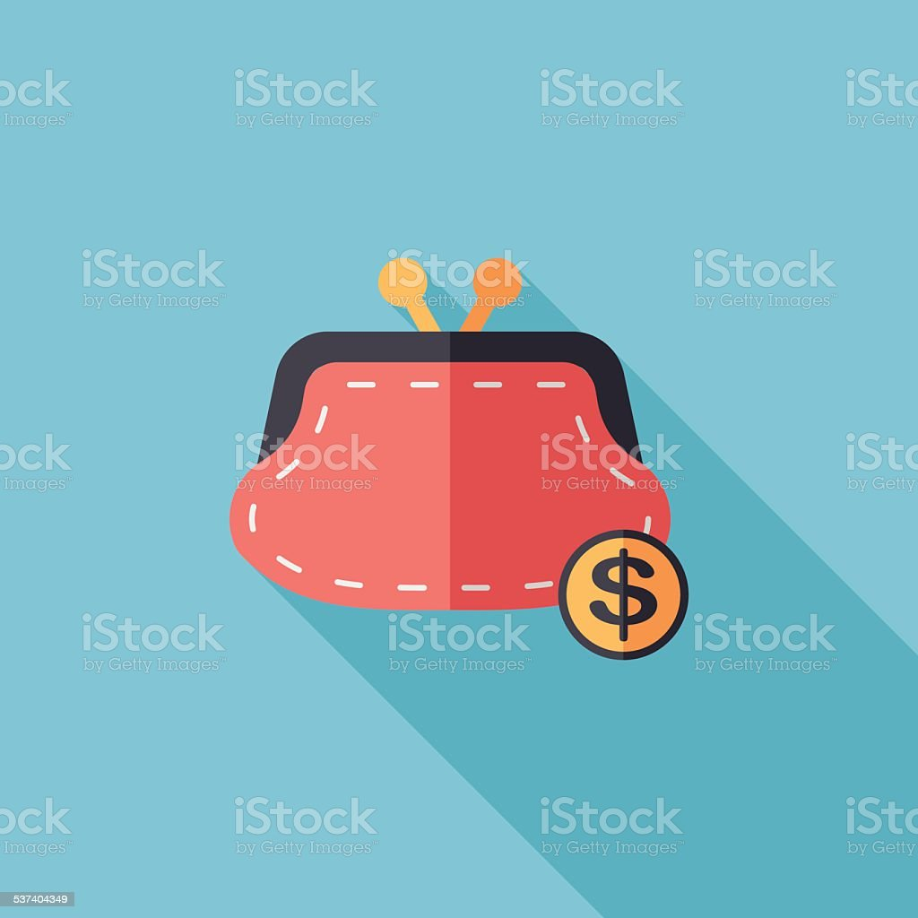 shopping change purse flat icon with long shadow,eps10 vector art illustration