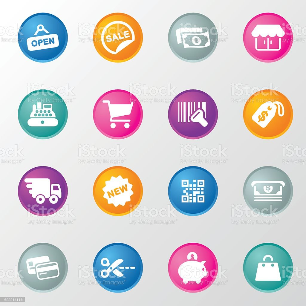 Shopping Circle Color Icons vector art illustration