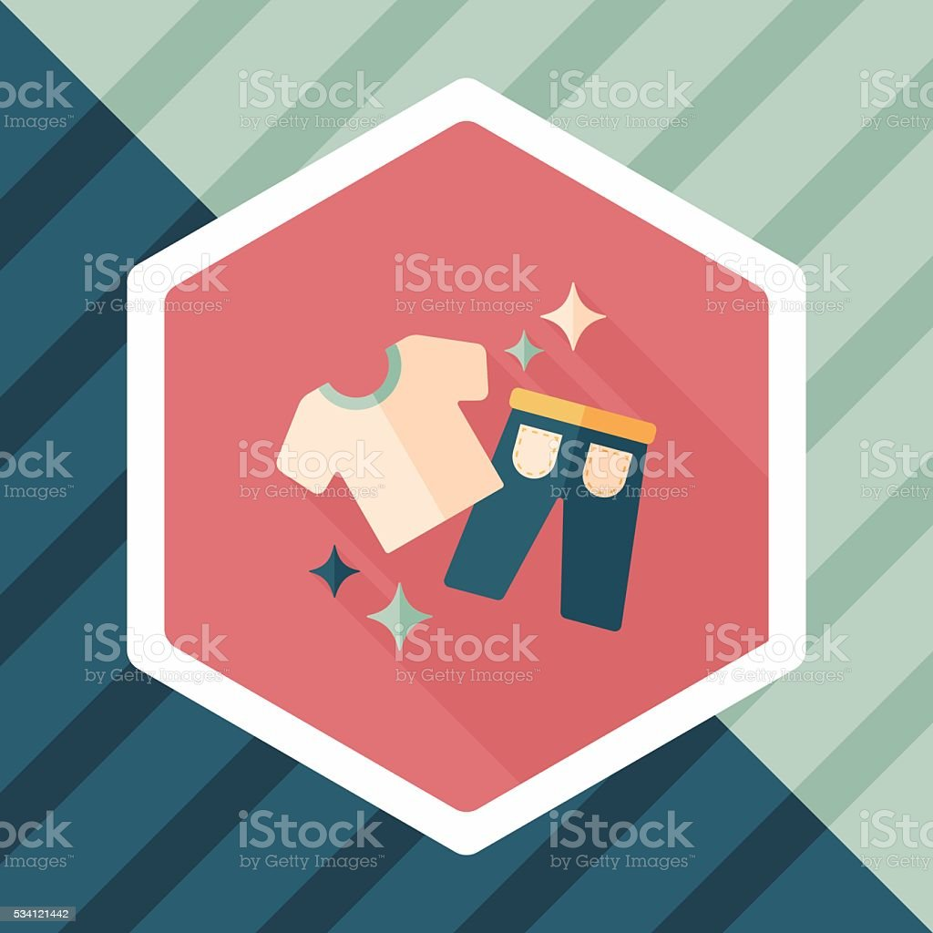 shopping clothes flat icon with long shadow,eps10 vector art illustration