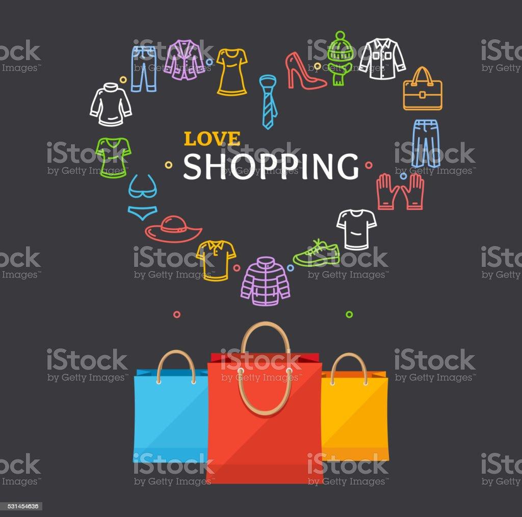Shopping Clothing Season Concept. Vector vector art illustration