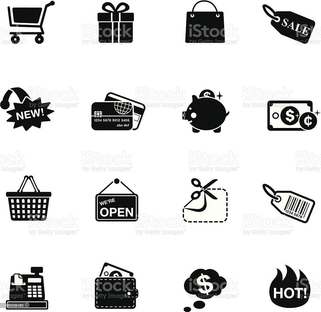 Shopping & Consumerism icons | White or Black series vector art illustration
