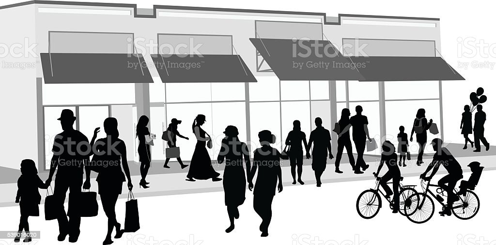 Shopping Crowd Outdoors vector art illustration
