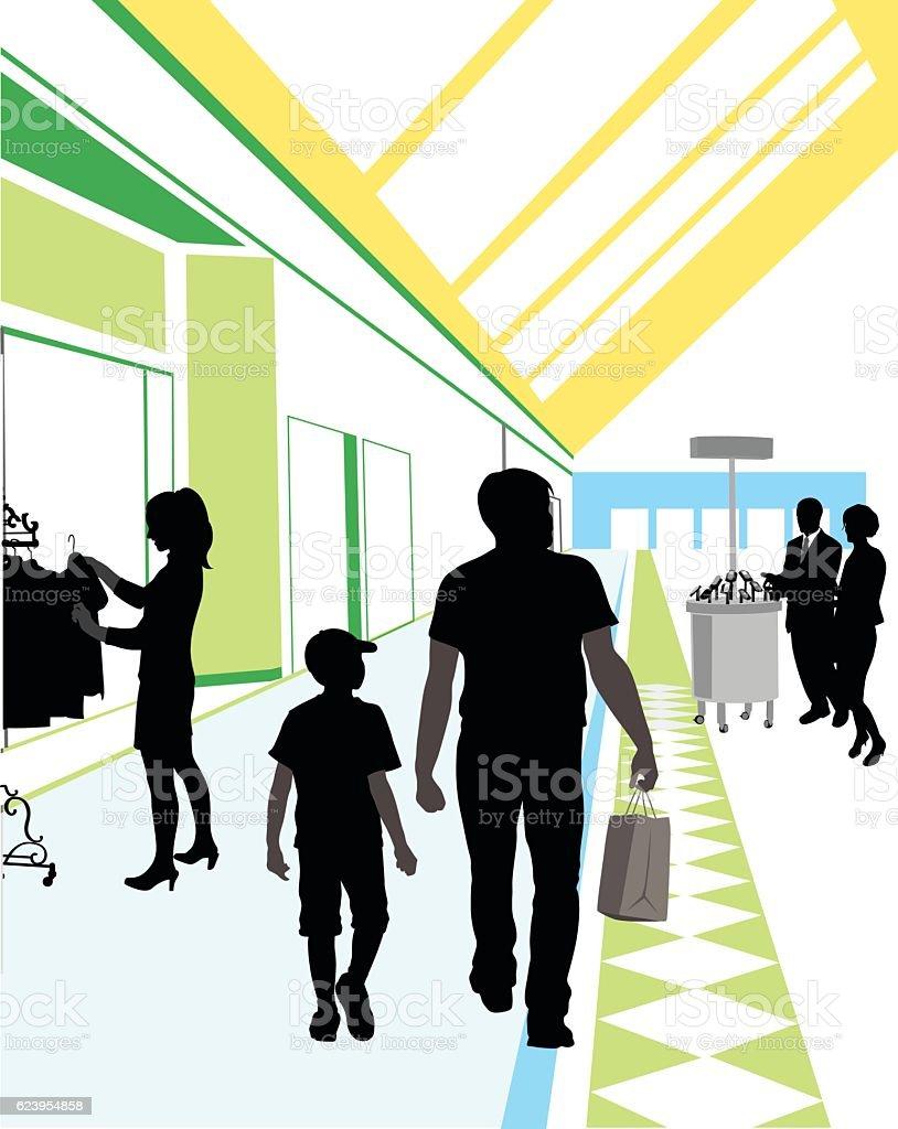 Shopping Dad vector art illustration